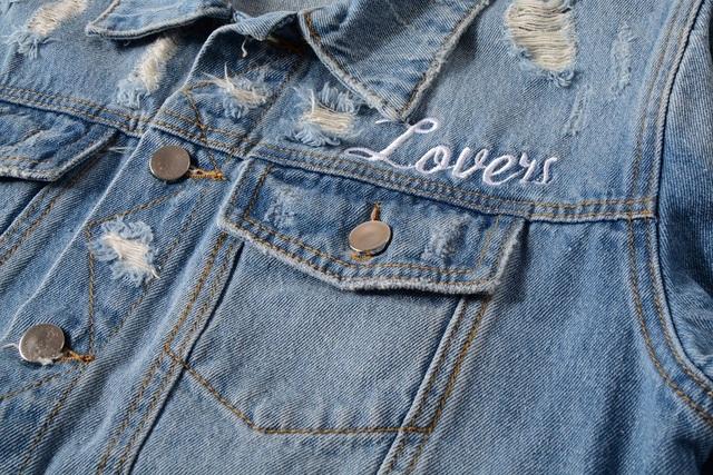 New France Style #410 Mens Distressed Destroyed Embroidery Skull Heart Moto Biker Blue Denim Jacket  Size M-4XL