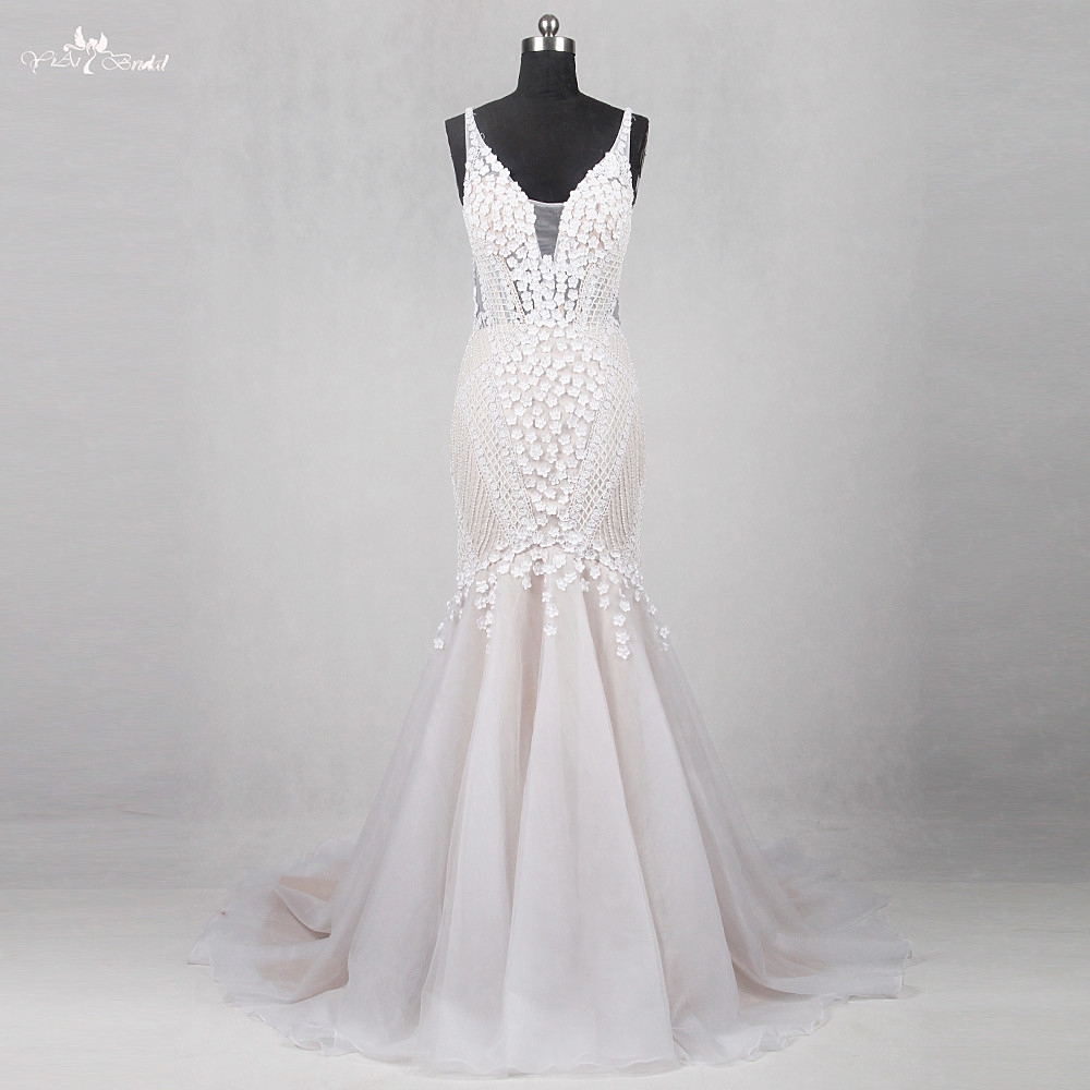 RSW1133 Real Pictures Yiaibridal Alibaba China Wedding Gowns Flowers French Lattice Sexy Backless Mermaid Wedding Dresses 2017