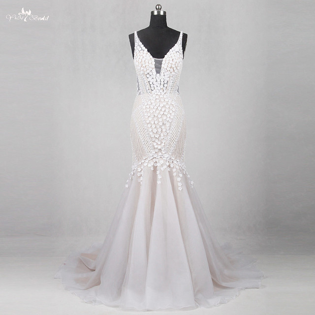 RSW1133 Real Pictures Yiaibridal Alibaba China Wedding Gowns Flowers French Lattice Sexy Backless Mermaid Dresses