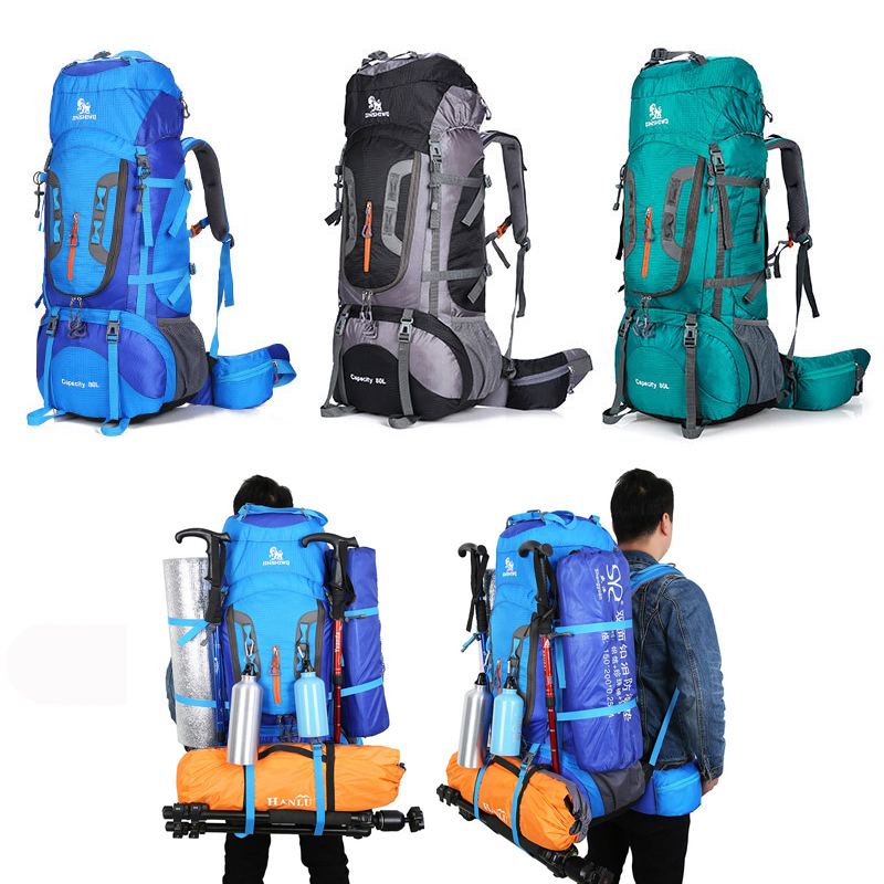 80L Large Capacity Outdoor Sport Trekking Camping Hiking Backpacks 6 Colors Sport Travel Climbing Bag Outdoor Backpack 65l professional outdoor mountaineering bag camouflage bag large capacity multi function camping hiking backpack outdoor travel