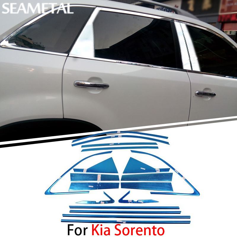 For Kia Sorento 2009 2010 2011 2012 2013 2014 Chrome Covers Chromium Styling Car Full Window Trim Decoration Auto Accessories abs chrome front grille around trim for ford s max smax 2007 2010 2011 2012