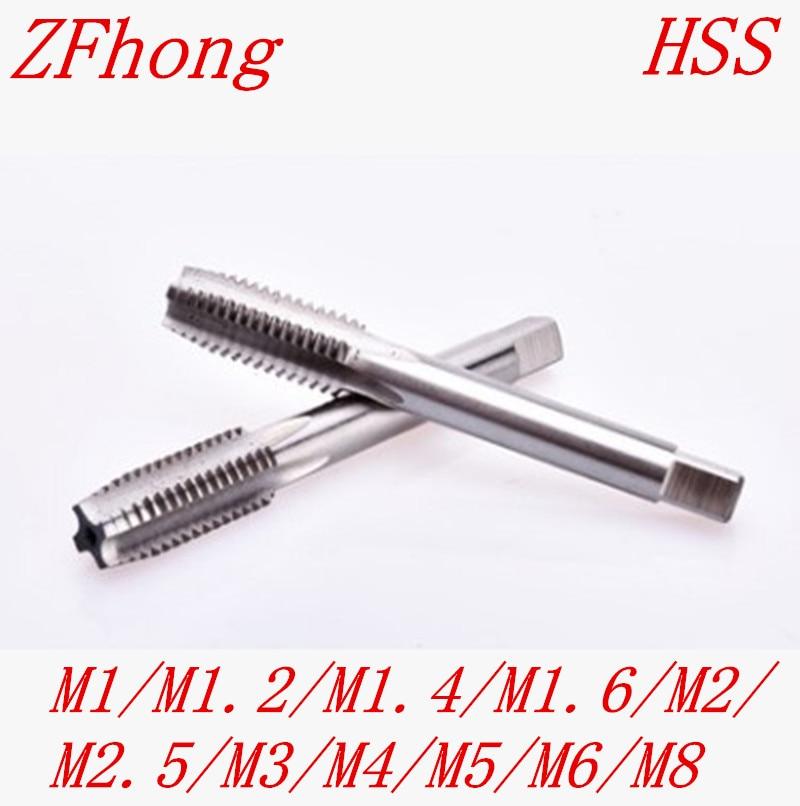 M1 M1.2 M1.4 M1.6 M1.7 M2 M2.5 M3 M4 M5 M6 M8 High Quality HSS Right Hand Thread Tap Metric Tapper Plug 4pcs set hand tap hex shank hss screw spiral point thread metric plug drill bits m3 m4 m5 m6 hand tools