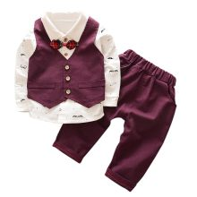 Dollplus Lente Herfst Baby Boy Pak Britse Wind kinderen Jongen Past Gentleman Lange Mouw Vest Broek Kids Formele suits(China)