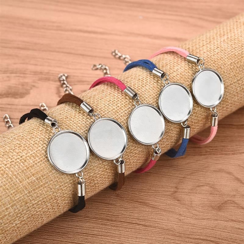 20pcs/Lot 20mm Leather Bracelet Blanks for Round Cabochon DIY Jewelry Making Connector Setting Bezels Tray Bracelet Findings