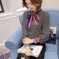 2017 Women New Korean Style Banded Bowknot Long Sleeve Plaid Shirt Women Loose Blouses Woman S