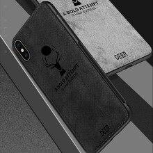 Fabric Back Cover Capa For Xiaomi Mi 8 Lite Case Classic Cloth Soft Silicone Frame Xiomi Mi8 SE
