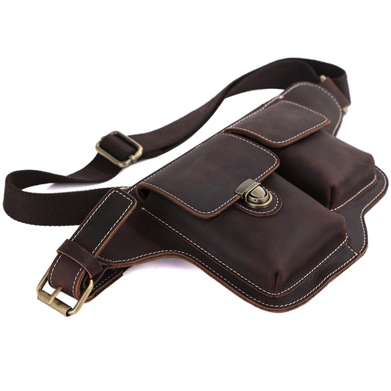 التغلب الأزياء جلد البقر الخصر حقيبة للرجال أكياس الهاتف حزمة مراوح بوم حزام الورك الحقيبة صغيرة متعددة الوظائف اليوم حزمة البني-في حقائيب الخصر من حقائب وأمتعة على  مجموعة 3