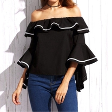 Sexy Slash Neck Off Shoulder Blouses 2018 Pregnant Shirts Casual 3/4 Sleeve Ruffles Tops Plus Size Women Maternity Clothings(China)