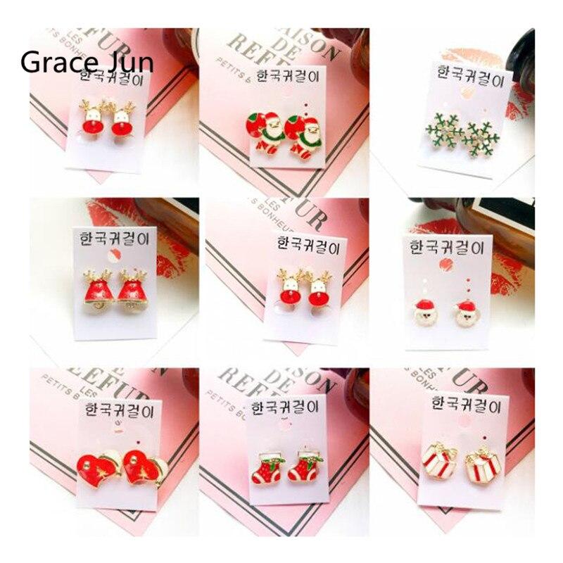 14 Farbe Verfügbar Weihnachten Schneeflocke Socke Glocken Baum Herz Kürbis Kopf Clip Auf Ohrringe Für Mädchen Charme Keine Durchbohrten Ohrringe
