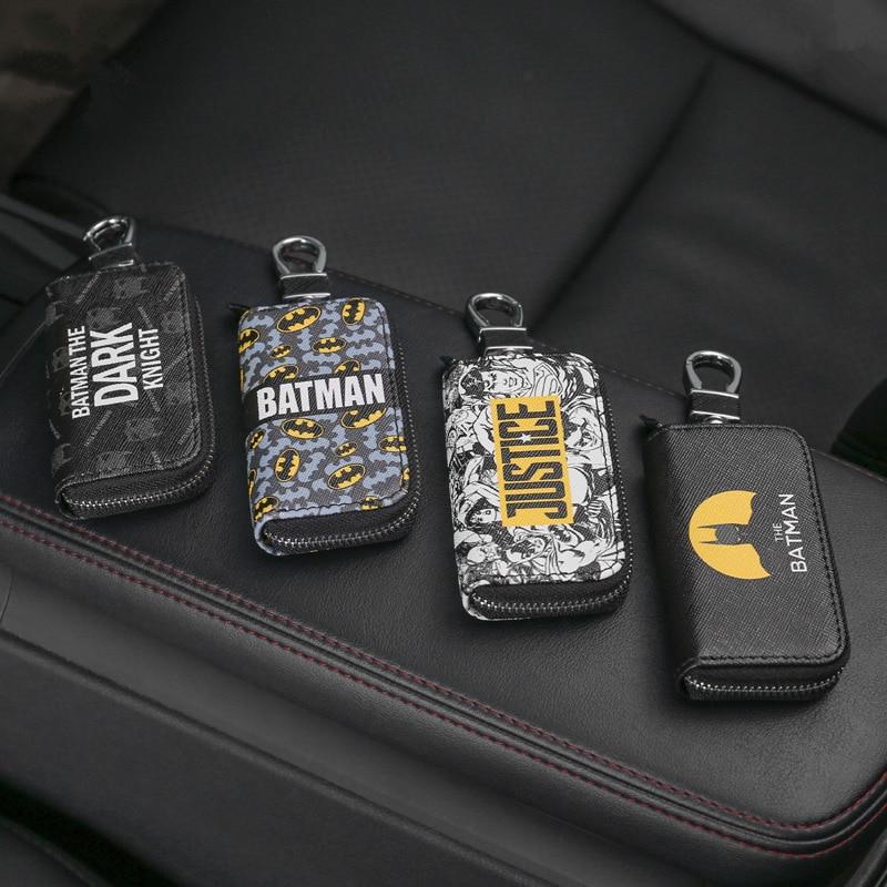 Fashion Marvel Cartoon Batman Car Key Bag Pu Leather Key Case Cover For Car Keys Wallet Purse Pouch Auto Key Holders Accessories
