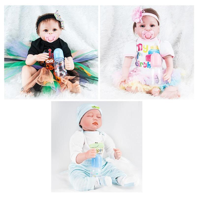 Fashional 55cm Simulation Newborn Baby Dolls Soft Silicone Kids Playmate Bathing Toy Baby Dolls Handmade Creative Birthday Gifts