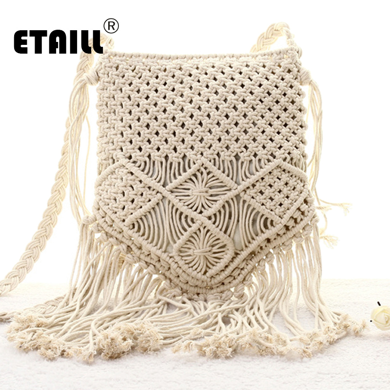 New Bohemian Boho Summer Straw Weave Bag Handmade Pompon Tassel Crochet Knitting Famous Brand Crossbody Bags Casual Shoulder Bag magnetic closure animal dolls pompon crossbody bag