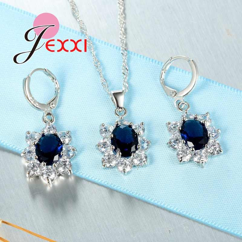 Klassische 925 Sterling Silber Halskette Ohrringe Schmuck-Set Kristall Mode Bijoux Frauen Hochzeit Geschenke Schneller Versand
