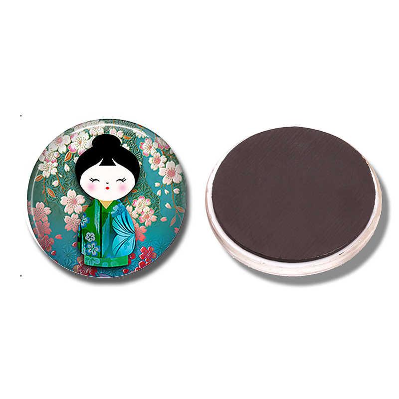Hoa mận Kokeshi 30 MM Tủ Lạnh Nam Châm Búp Bê Nhật Bản Glass Cabochon Tủ Lạnh Từ Tính Dán Lưu Ý Chủ Trang Trí Nội Thất