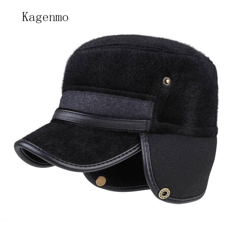 faux leather fur ball baseball cap fox pom hat autumn and winter fashion man thick font mink