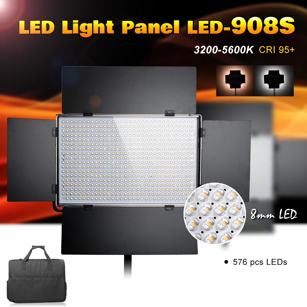 Pergear LED-908S LED Light Panel Kit 576pcs Led Light Bulbs Dimmable 3200K~5600K CRI 95 & Bag Metal Light for Video Photography фотографическое освещение pergear led 3200k 5500k 298