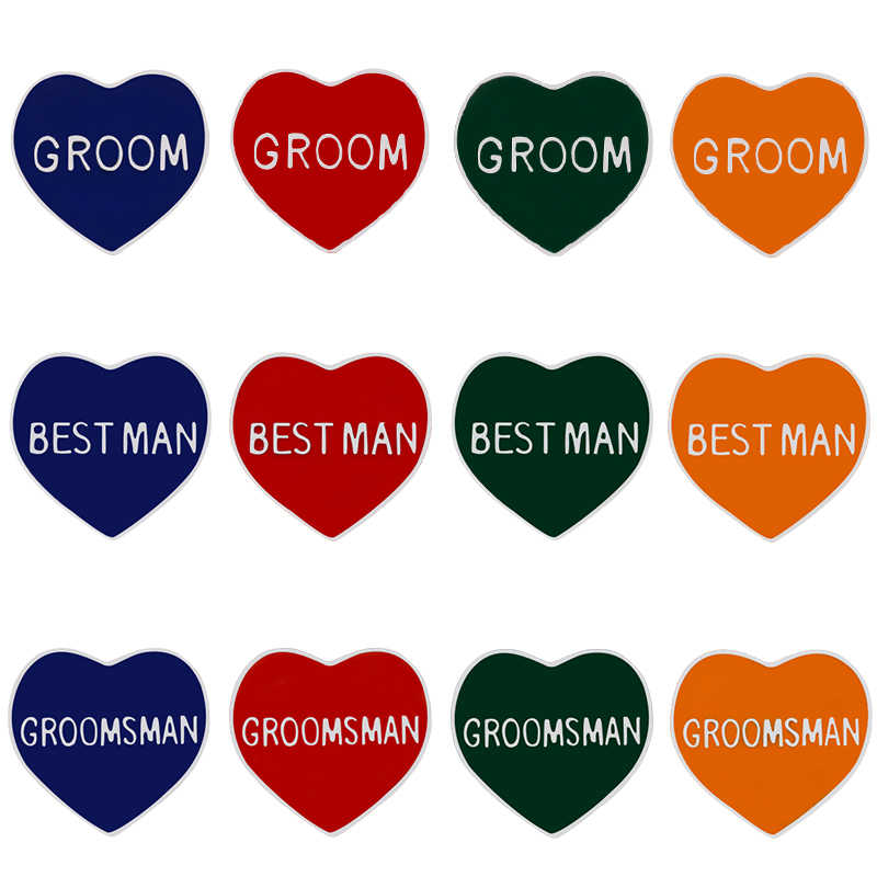 Baru Kreatif Cinta Hati Bros Pengantin Pria Terbaik Pria Pria Terbaik Lencana Pernikahan Aksesoris Kemeja Ransel Topi Wanita Perhiasan Hadiah untuk Anak
