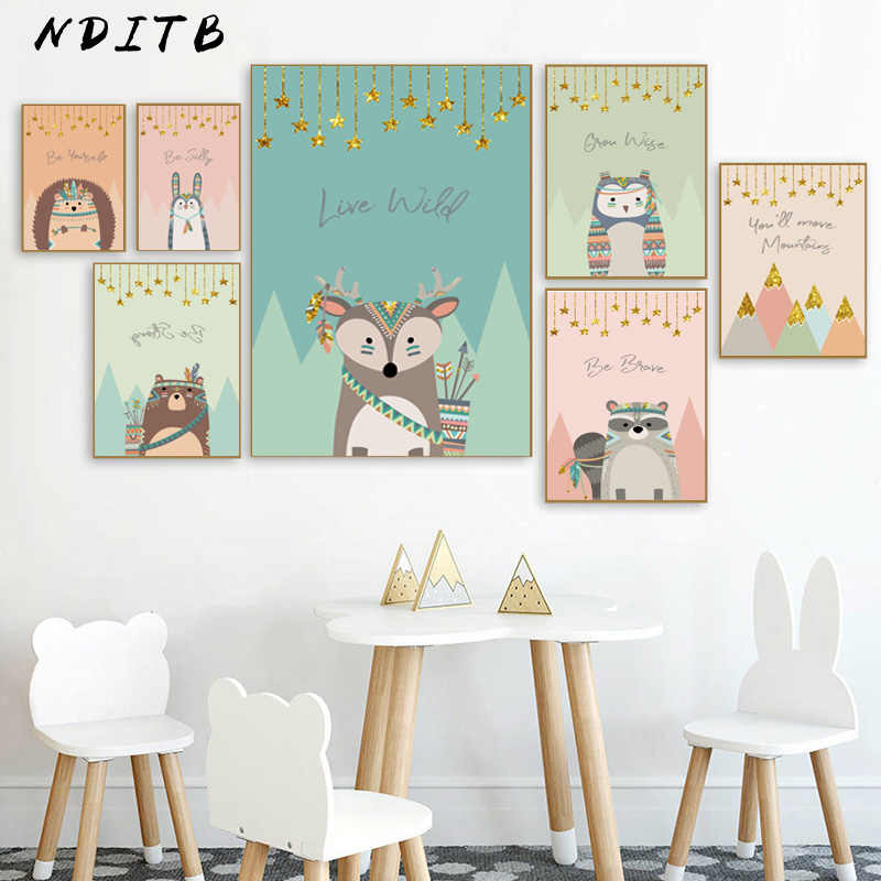 Tribal Woodland Animal Poster Nursery Canvas Wall Art Print Fox Owl Bear Painting Nordic Kids Decoration Picture Bedroom Decor