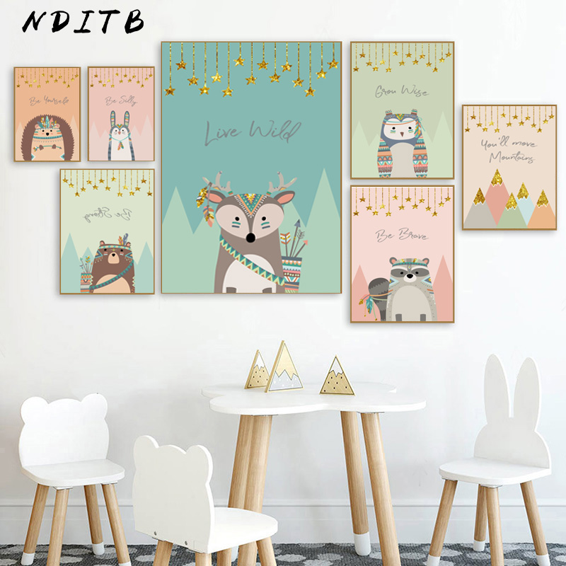 Tribal Woodland Animal Poster Nursery Canvas Wall Art Print Fox Owl Bear Painting Nordic Kids Decoration Picture Bedroom Decor(China)