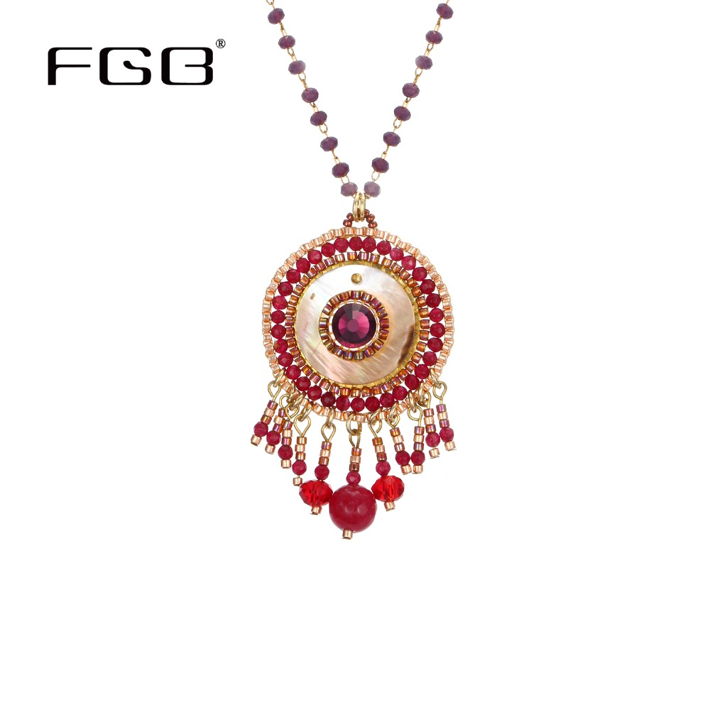 FGB Ethnic Pendant Necklace Crystal Beads Chain Necklace Glass Beads Bright Red Tribal Style New Fashion Jewelry Hot Girl Gifts цена