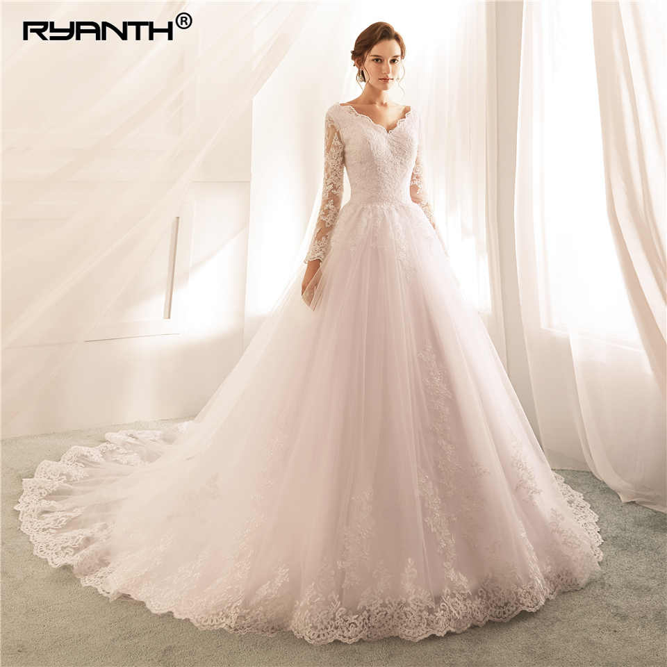 Ryanth Robe De Mariage New Arrival Vestidos De Novia 2018 Ball Gown Long Sleeves Lace Wedding Dress V Neck Vestido De Noiva