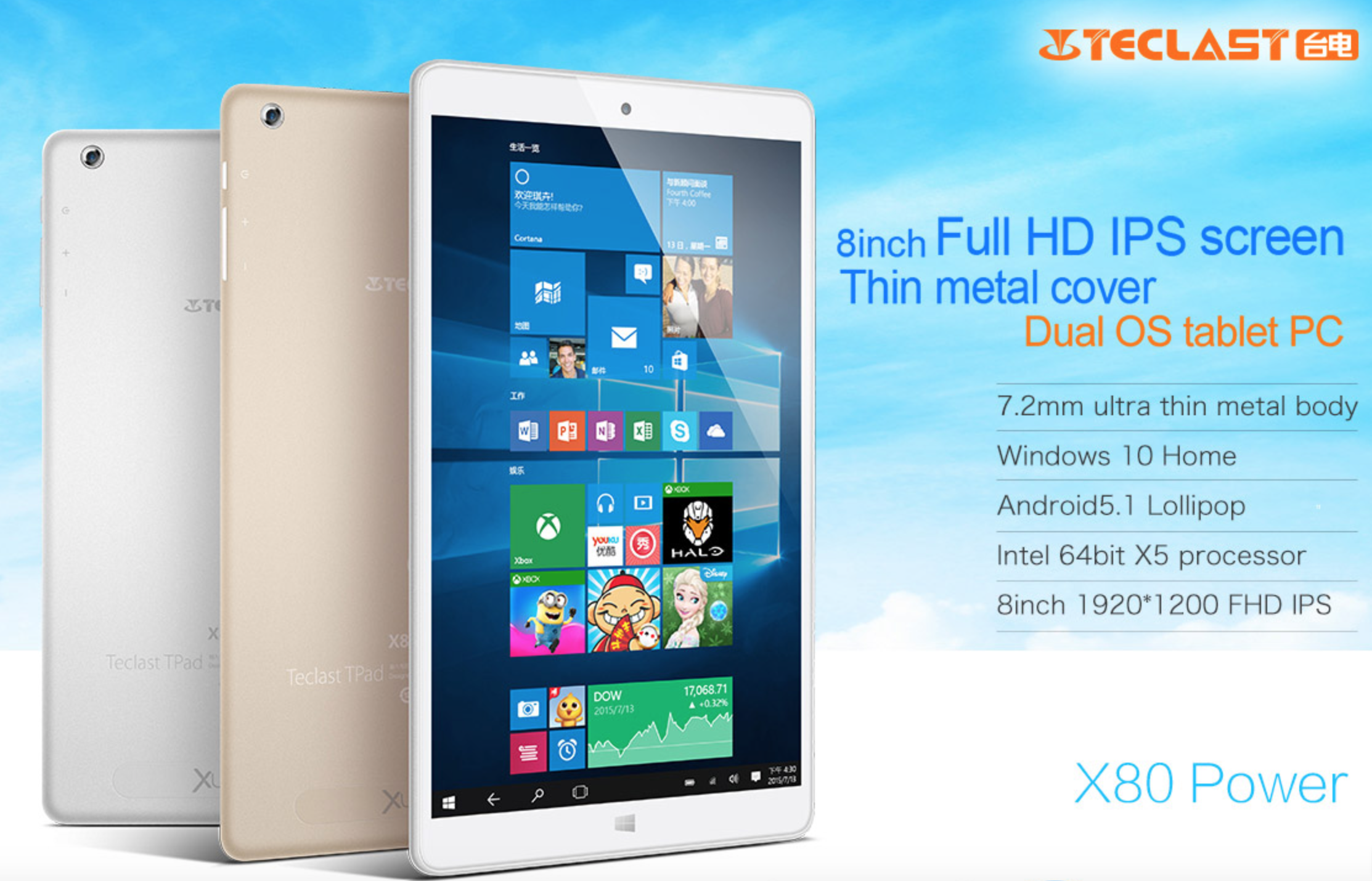 Teclast X80 Power 8.0'' Tablet PC Windows 10 Android 5.1 2GB RAM 32GB ROM IPS Intel Cherry Trail Z8300 Quad Core 3800mAh Tablet