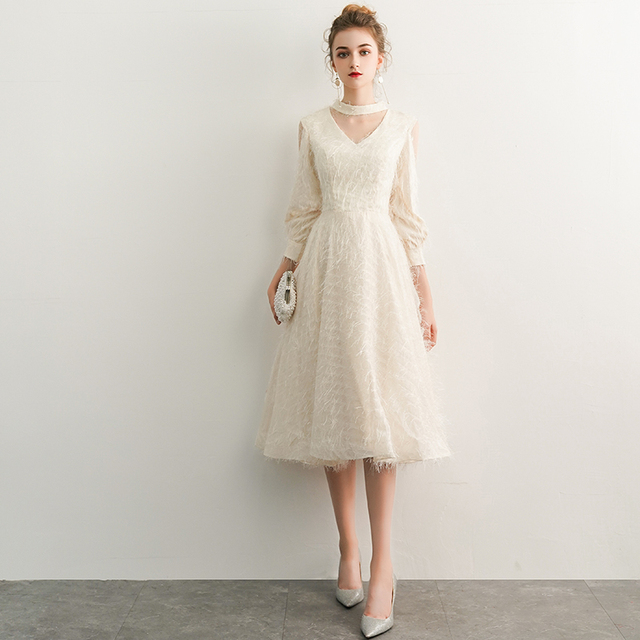 2021 New Elegant Champagne Long Evening Dresses V-Neck A-Line Floor Length Lace Prom Dresses Robe De Soiree Party Dress LYFY15 1