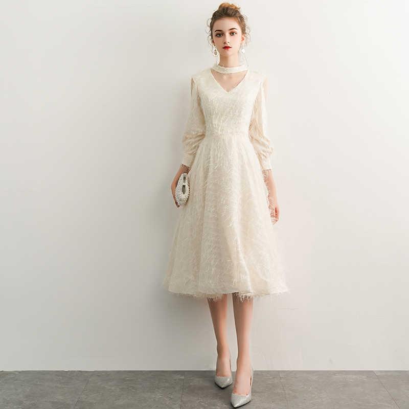 2019 New Elegant Champagne Long Evening Dresses V-Neck A-Line Floor Length  Lace 9d7158694106