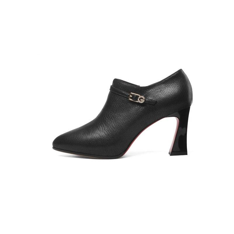 Alto Dedo Mujeres De Pie marrón Tacón Bombas Las Del Moda Negro Negro Mujer 2018 Cuero Marrón Vestido Genuino Zapatos Poined 1wqgvC