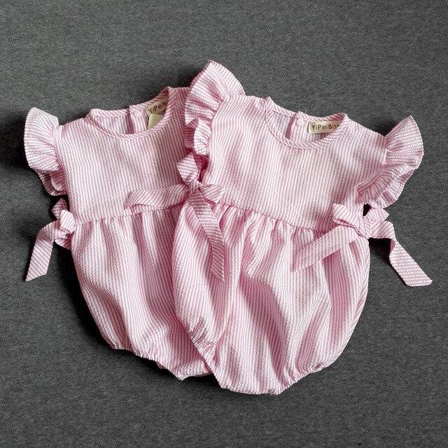 Menina bebê Bodysuit Newborn Macacão Tarja Sopro Manga Rosa Bonito Roupas de Bebê