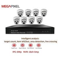Ip камера Камера CCTV NVR Наборы интеллектуального анализа система видеонаблюдения 5mp 4ch 8ch PoE ИК купольная системах видеонаблюдения