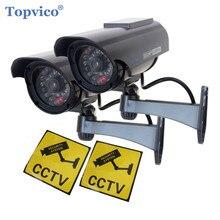 Topvico 2pcs Dummy CCTV Camera Solar Simulation Fake Security Camera False Cam Battery Powered Outdoor Video Surveillance Camera