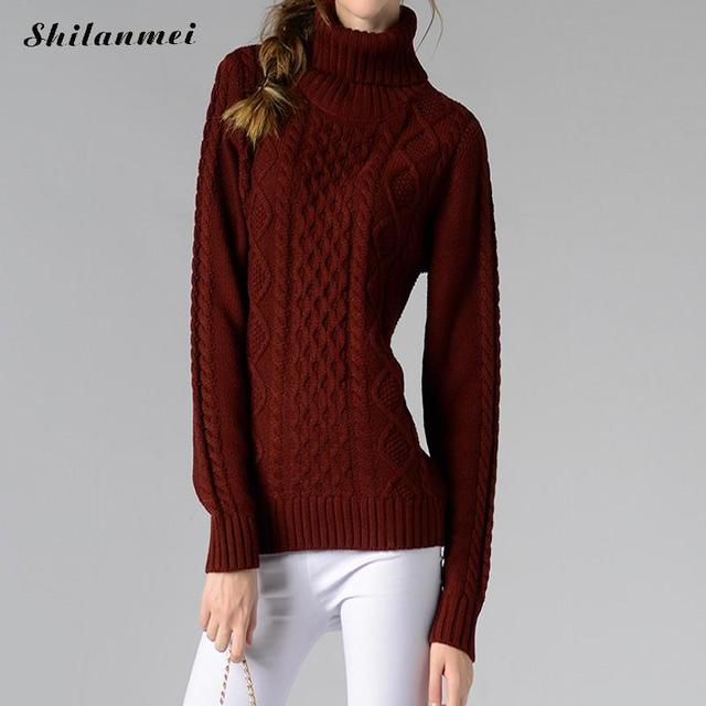 168a35e68d7 2017 Autumn and Winter Vintage Women Sweater long Sleeve Loose Turtleneck  Knitted Pullover Army Green Sweaters Crop Top