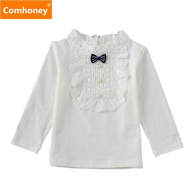 488e29dc9 Las muchachas del cordón del blusas escolares para las niñas 0-3 t blanco  Base