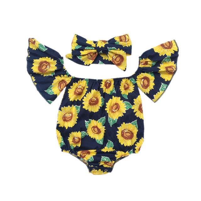 9fc71ad52 Infant kid Clothing Baby Girl Jumpsuit Summer Off Shoulder Sunflower Prints  Girl Cotton Romper Outfits Sunsuit
