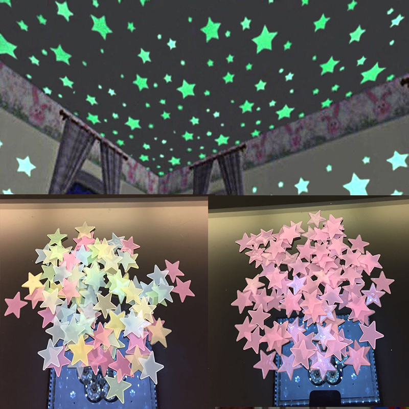 100PC Star Glow Wall Stickers Star Luminous Luminous Glow 3d Sticker Kids Bedroom Fluorescent Glow In The Dark WS002(China)