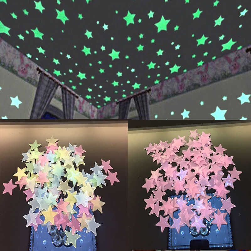 100PC  Star Glow Wall Stickers Star Luminous luminous glow 3d sticker Kids Bedroom Fluorescent Glow In The Dark WS002