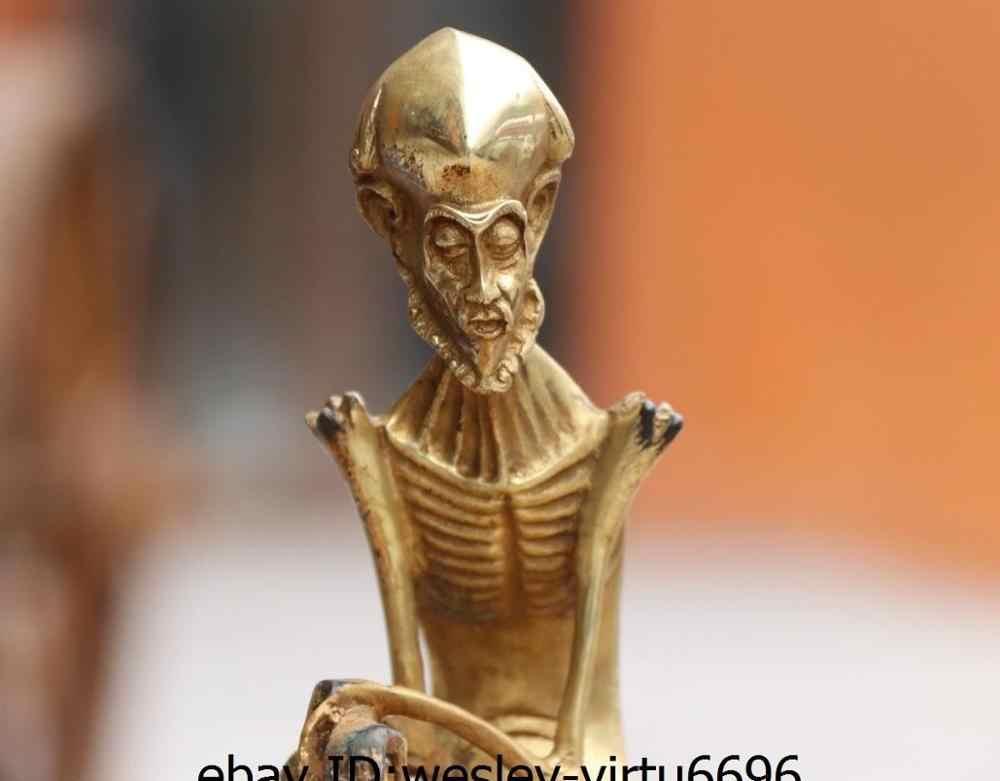 Tua Tembaga Perunggu Gild Dharma Kerangka Tulang Manusia Orang Tengkorak Seni Patung