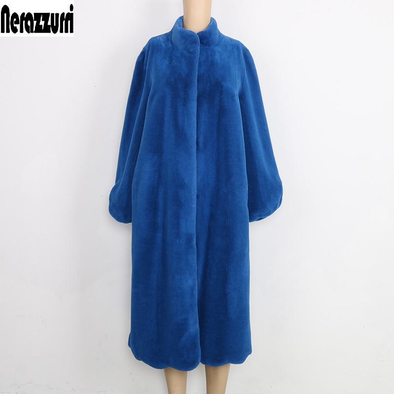 Nerazzurri Fluffy Faux Fur Coat Women Blue Black Pink furry Long plush Fake Fur Jacket Plus