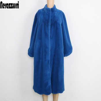 Nerazzurri Fluffy Faux Fur Coat Women Blue Black Pink furry Long plush Fake Fur Jacket Plus Size Elegant Winter Outerwear 5xl - Category 🛒 Women\'s Clothing