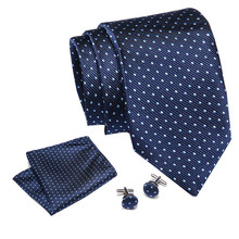 Brand New Plaid Silk Tie Jacquard Woven Paisley Necktie Gravata Handkerchief Cufflinks Set Pocket Square Men