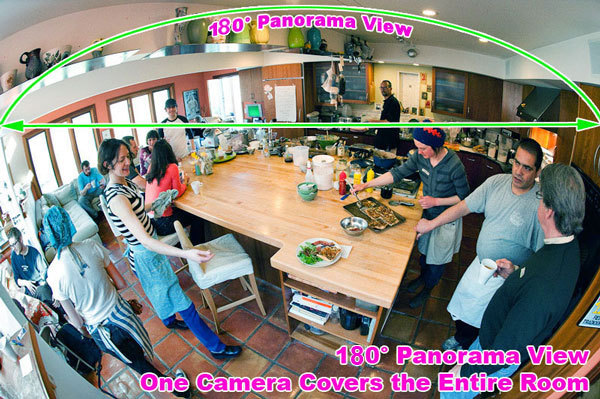 180 degree wide angle view