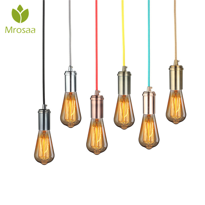 4.5m E27 Vintage Edison Mini Pendant Light Antique Brass Finish Woven Fabric Cord In-Line On/Off Rocker Switch Home Decor ...
