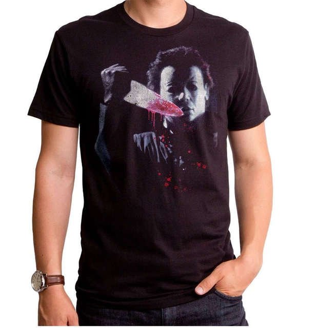 Harajuku New Authentic Halloween Movie Michael Myers Knife Mask T-Shirt S M L X 2X top Print Summer Tops Tees