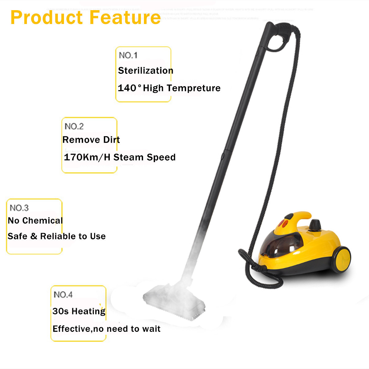 13in1 High Pressure Steam 2000W AU220V 1.5L4.0 Bar Floor Carpet Cleaner Washer Cleaning Machine 360 Wheel for Clean Bathroom Car