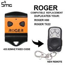ROGER abridor de puerta de garaje, Control remoto, duplicador, 433,92 mhz, H80, E80, ROGER TX22
