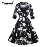 Tonval Elegant Floral Women Plus Size Dress Autumn Winter 2017 Square Collar Female Retro Gorgeous Flower