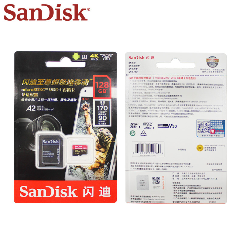 US $24 6 59% OFF|Original Sandisk Extreme Pro Micro SD Card up to 170MB/s  A2 V30 U3 64GB 128GB Sandisk TF Card Memory Card With SD Adapter-in Micro  SD
