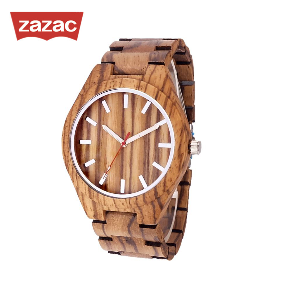 Zazac Round Vintage Zebra Wood Case Men Watch With Ebony Bamboo Wood Face With Zebra Bamboo Wood Strap Japanese movement цена
