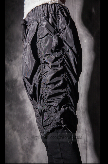 Хит 2020, Осенние новые индивидуальные мужские леггинсы, облегающие, имитация двух частей, повседневные штаны, певица, брюки для ночного клуба - 4